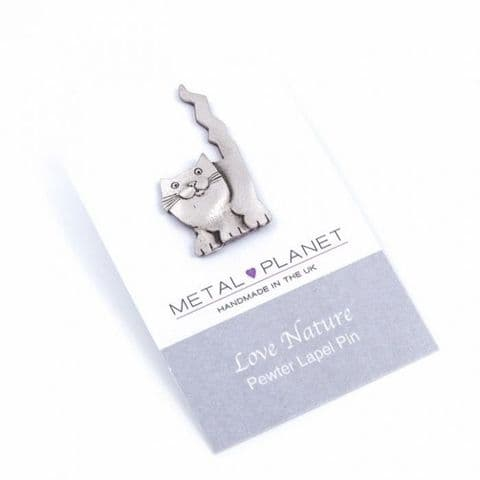 Crazy Tail Cat- Pewter Jacket, Lapel or Coat Pin